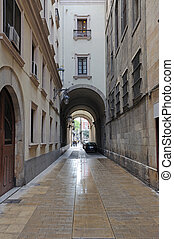 Narrow street in Barcelona, Spain
