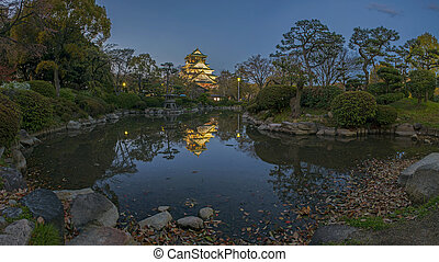 Osaka castle - pool water in garden of osaka castle