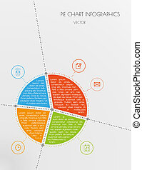 infographic vector with divided color pie chart