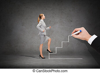 smiling businesswoman stepping up staircase - business and...