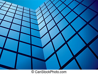office building reflection wide