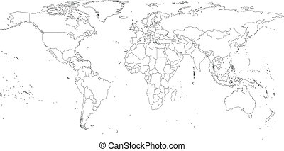 Gray Political World Map Vector, light design vector...