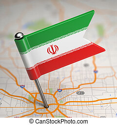 Iran Small Flag on a Map Background - Small Flag of Islamic...