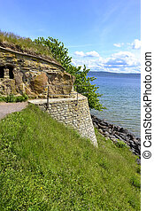 Ruins of castle of Nas in Swedish island Visingso with a...
