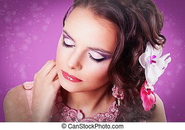 rosa, ojos, morena, Plano de fondo, rizado, púrpura,...