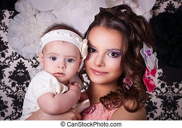 6, cabeza, meses, mamá, Se conserva, bebé, flores, mi