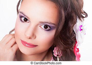 hermoso, rosa, púrpura, Maquillaje, labios, niña