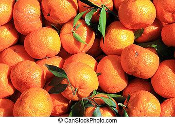 Mandarine oranges close up fruit background