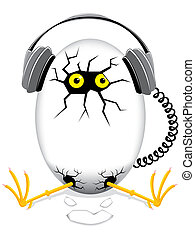 music egg - chicken baby in an egg with headphones