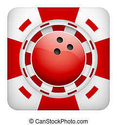 Square red casino chips of bowling sports betting - Square...