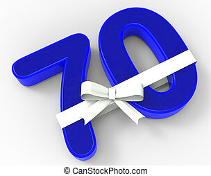 Number Seventy With Ribbon Showing Elderly Birthday Or Surprise Celebration