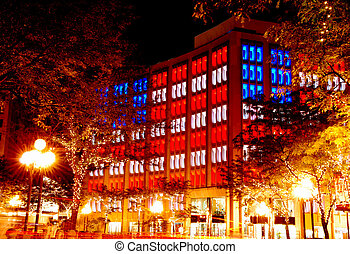 office building in the evening - beautiful lighting of the...