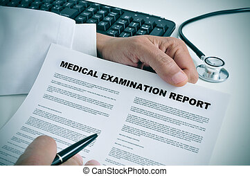 medical examination report - a doctor in his office showing...