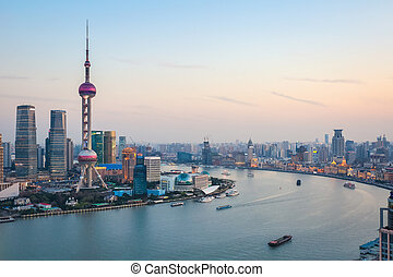 beautiful shanghai at dusk - beautiful scenery of the...