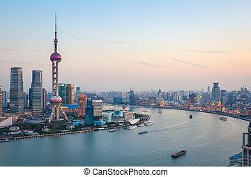 beautiful shanghai at dusk - beautiful scenery of the...