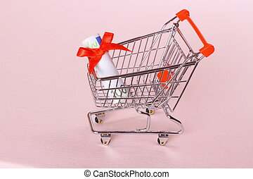 Shopping Cart with hundred euro as gift - Shopping Cart with...