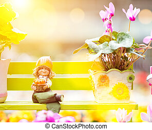 Rieger begonia, cyclamen and porcelain doll - A cute...