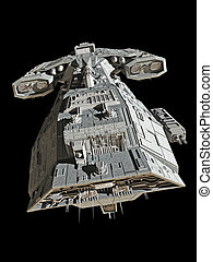 Spaceship on black - top view - Science fiction spaceship...
