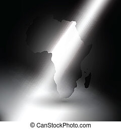 Africa map in the rays of light  background vector