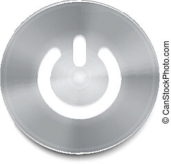 Metal power button with white light vector
