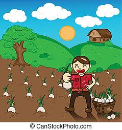 Illustration of cartoon Farmers harvest onions