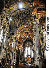 overview Basilica of Notre-Dame de Fourviere in Lyon, France