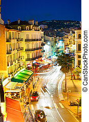 Cannes at night - City center of Cannes, France It is a busy...