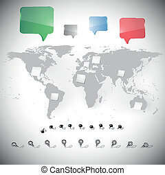world map with stationery nails and dialog boxes