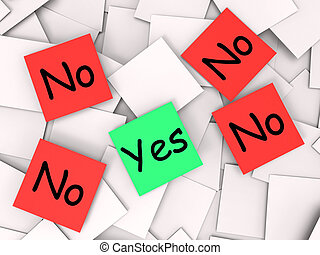 Yes No Post-It Notes Mean Positive Or Declining