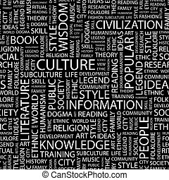 CULTURE. Seamless pattern. Word cloud illustration.