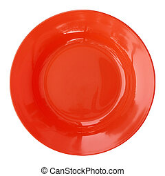 red empty plate isolated on white background with clipping path