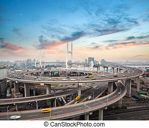 shanghai nanpu bridge in sunset ,busy traffic and logistics...