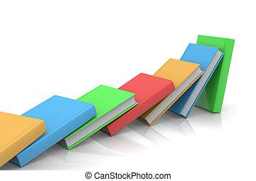 Books Domino - Colored Books Aligned Like Domino on White...