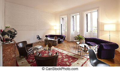 Home interior with white brick walls and wooden floor....