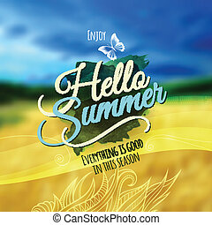 """Hello Summer"" Vector blurred background. - Creative graphic..."