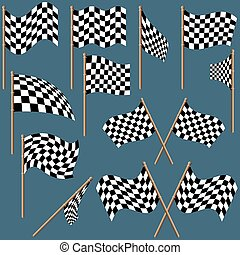 Checkered Flags 1 - colored illustration