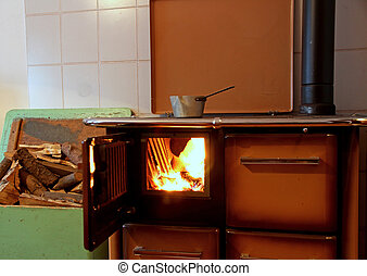 antique wood burning stove in a kitchen of a mountain home...