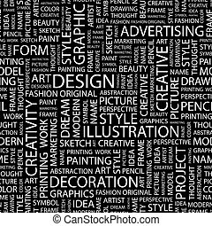 DESIGN Seamless pattern Word cloud illustration