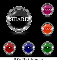 Share icon - Silver shiny icons - six colors vector set -...