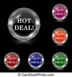 Hot deal icon - Silver shiny icons - six colors vector set -...