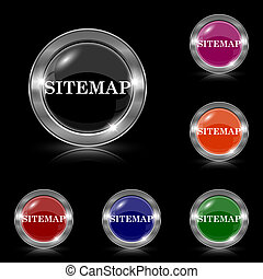 Sitemap icon - Silver shiny icons - six colors vector set -...