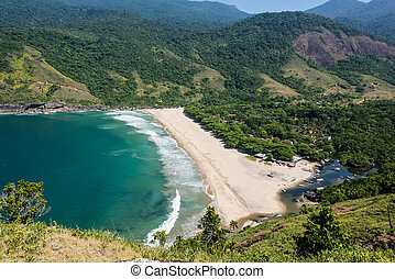 Perfect view of blue bay at Ilhabela island Brazil. South...