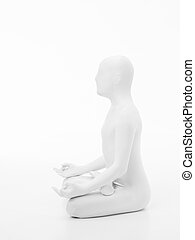 faceless man yoga lotus side view - faceless man dressed in...