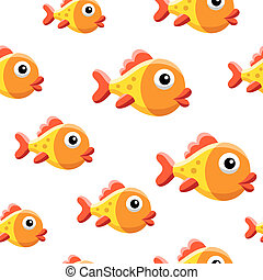 Goldfish background - Seamless background design with funny...