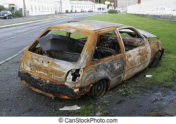 burned car - a all burned abandoned car