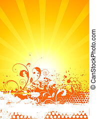 Floral grunge background on sun burst background