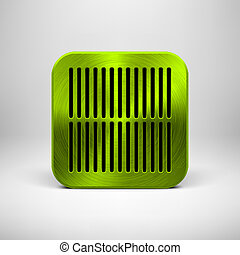 Green App Icon Template with Metal Texture
