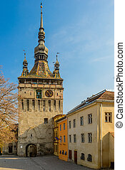 Clock Tower in Sighisoara, Romania - clock tower in historic...