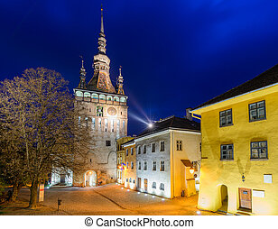 Sighisoara, at night - clock tower in sighisoara,...
