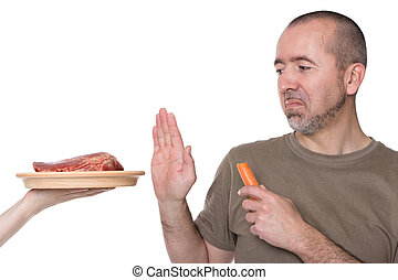 Choice between meat and vegetables - Man rejects offered...